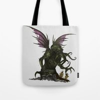 cthulu Tote Bags featuring Elder God by CromMorc
