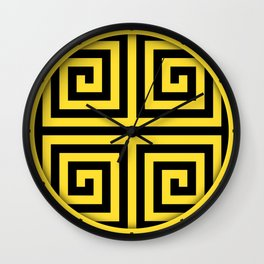 GRAPHIC GRID 4 SWIRL ABSTRACT DESIGN (BLACK AND YELLOW) SERIES 3 OF 6 Wall Clock