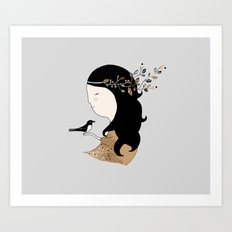 Girl with magpie Art Print
