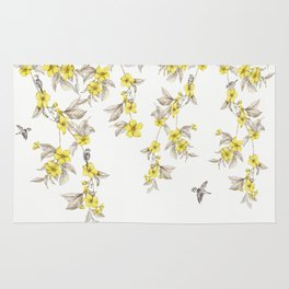Birds and Cherry blossoms II Rug