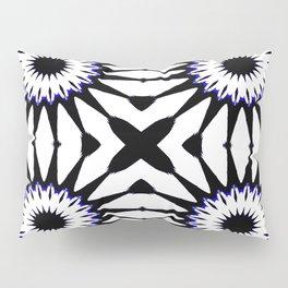 Black White Blue Pinwheel Flowers Pillow Sham
