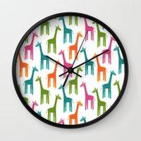 giraffes Wall Clocks featuring Giraffes by ts55