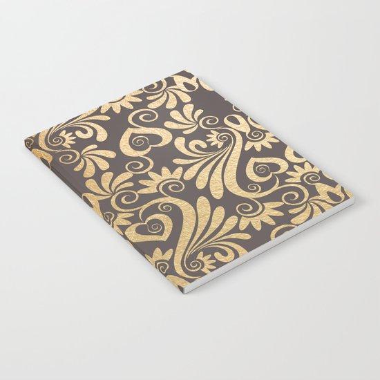 Gold swirls damask #5 Notebook