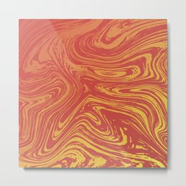Red marble pattern with golden tint Metal Print