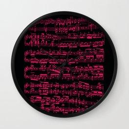 Beethoven piano Sonata No.7 sheet music, neon pink on black. Wall Clock