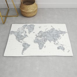 "Gray watercolor highly detailed world map, square, ""Jimmy"" Rug"