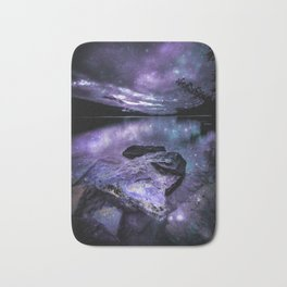 Magical Mountain Lake Purple Teal Bath Mat