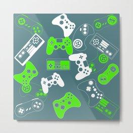 Video Games green on grey Metal Print