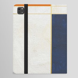 Orange, Blue And White With Golden Lines Abstract Painting iPad Folio Case