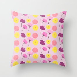 Pressed Flowers Throw Pillow