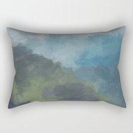 Abstract Painting, Gray, Blue, Navy, and Green Nature Mountain Hiking Print, Modern Wall Art Decor Rectangular Pillow