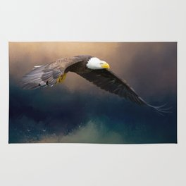 Painting flying american bald eagle Rug