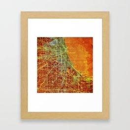Chicago orange old map Framed Art Print