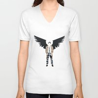 castiel V-neck T-shirts featuring Castiel by Rebecca McGoran