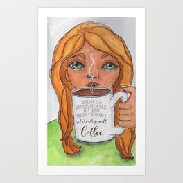 Coffee Over Diamonds Art Print