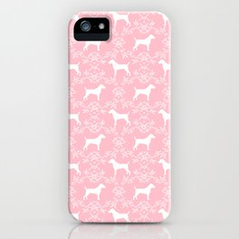 Jack Russell Terrier floral silhouette dog breed pet pattern silhouettes dog gifts pink iPhone Case
