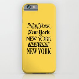 New York City Yellow Taxi and Black Typography Poster NYC iPhone Case
