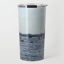 Huge water traffic on Neva River. Many passenger boats with Russian Navy Battleships and submarine. Travel Mug
