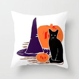 Witch Cat Pumpkin Woodcut Halloween Design Throw Pillow