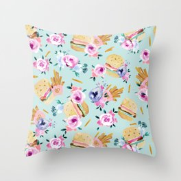 Burgers and Flowers - pastel on mint Throw Pillow
