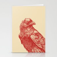 raven Stationery Cards featuring Red Raven  by Terry Fan