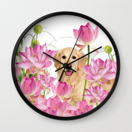Labrador Retrievers with Lotos Flower Wall Clock