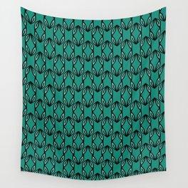 Green Leaf Folk Decor Lineart Wall Tapestry