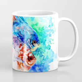 Underwater Scene Artwork, Discus Fish, Turquoise blue pink aquatic design Coffee Mug