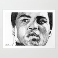 ali Art Prints featuring Ali by DeMoose_Art