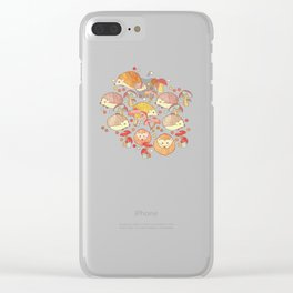 Woodland Hedgehogs - a pattern in soft neutrals  Clear iPhone Case
