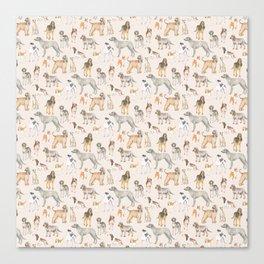 Hound dogs pattern on neutral background Canvas Print