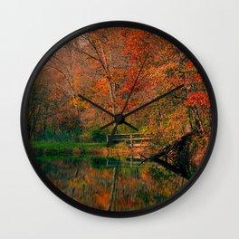 Fall At Oak Creek Pond Wall Clock