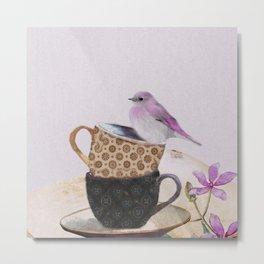 Bird in tea cup Metal Print