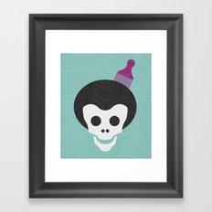 Skull with Fro. Framed Art Print