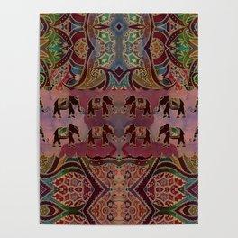 Floral Elephants #2 Poster
