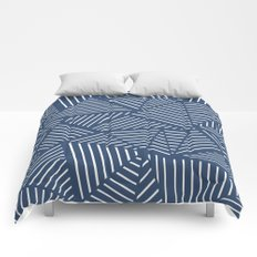 Abstraction Linear Zoom Navy Comforters