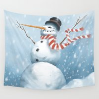 snowman Wall Tapestries featuring Snowman by Ron Beek III