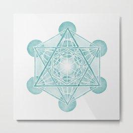 Watercolor Metratron's Cube Green Metal Print