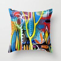 mid century modern Throw Pillows featuring Mid Century Modern Landscape by Rookery Design