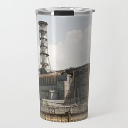 "Chernobyl nuclear power plant. Fourth block, now the object ""Shelter"" (Sarcophagus). Travel Mug"