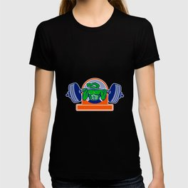 Alligator Lifting Heavy Barbell Circle Mascot T-shirt