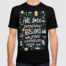 Lose ourselves in books Mens Fitted Tee MEDIUM Black