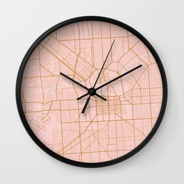 Pink and gold Adelaide map Wall Clock