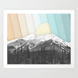 Morning Light Mountain Collage Art Print