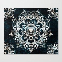 Glowing Spirit Mandala Blue White Canvas Print