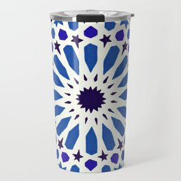 V19 Epic Light Blue Traditional Moroccan Pattern Design . Travel Mug