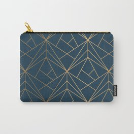 Benjamin Moore Hidden Sapphire Gold Geometric Pattern With White Shimmer Carry-All Pouch