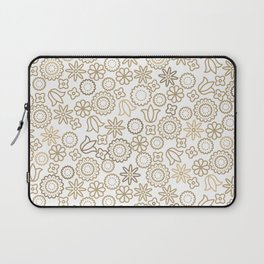 Gold floral line style pattern Laptop Sleeve