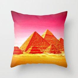 Pyramids At Giza Pink Sunset Throw Pillow
