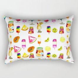 Watercolor Summer Fresh Fruits Cocktails Ice-cream Rectangular Pillow